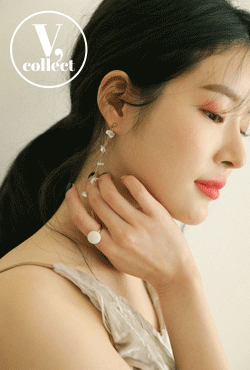 [V,Collect] Flower Pearl Drop Earrings
