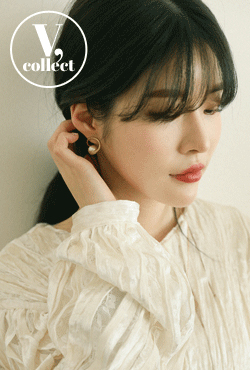 [V,Collect] Cotton Pearl with Ring Earrings