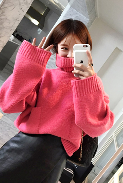Patch Pocket Turtleneck Sweater