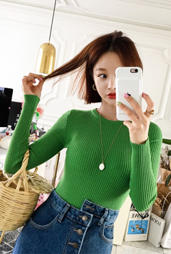 Long Sleeve Slim Fit Ribbed Top