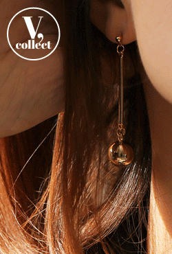 [V,Collect] Gold Ball Drop Earrings