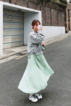 Solid Tone Pleated Midaxi Skirt