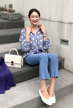 Loose Fit Polka Dot Blouse