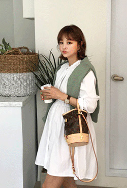 Shirred Waist Collarless Shirt Dress
