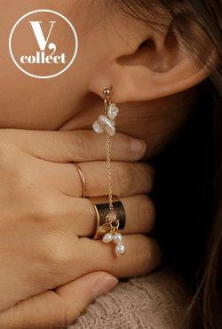 [V,Collect] Ivory Tone Pearl Drop Chain Earrings