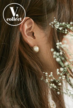 [V,Collect] Cotton Pearl Stud Earrings