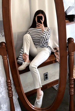 Slim Fit Raw Hem White Pants