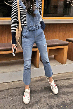 Ripped Raw Hem Denim Overalls