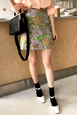 Semi-Elastic Waist Floral Mini Skirt