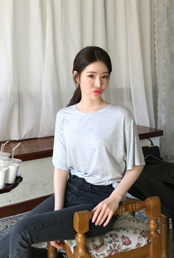 Loose Fit Dip Hem T-Shirt
