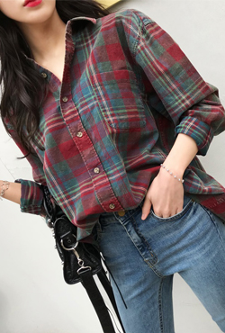Chest Pocket Plaid Boyfriend Shirt