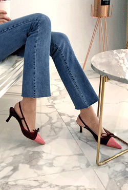 Pointed Cap Top Slingback Heels