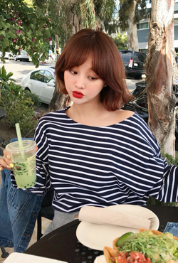 Boat Neck Oversized Striped T-Shirt