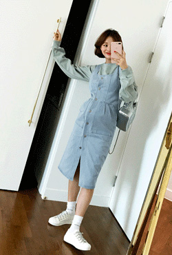 Button-Front Sleeveless Denim Dress