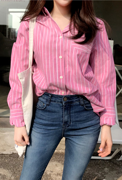 Stripe Button-Front Chest Pocket Shirt