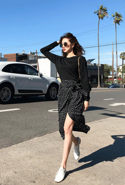 Dotted Tie-Waist Faux Wrap Skirt