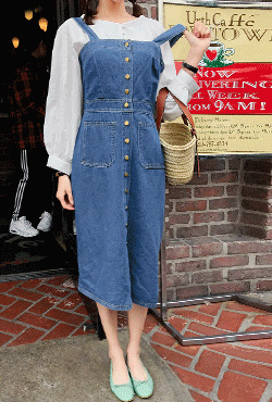 Straight Button-Front Sleeveless Denim Dress
