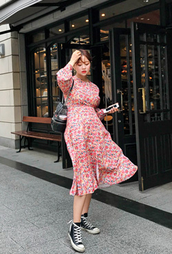Fit-and-Flare Floral Slit Dress