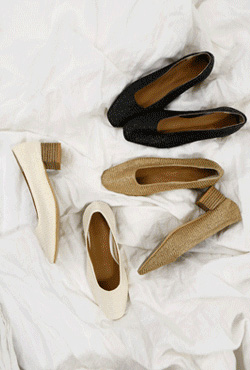 Woven Square Toe Pumps