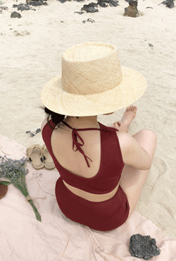 [SUMMER VELY] Round Brim Dented Straw Hat