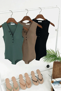 [SUMMER VELY] Partial Button Placket Monokini