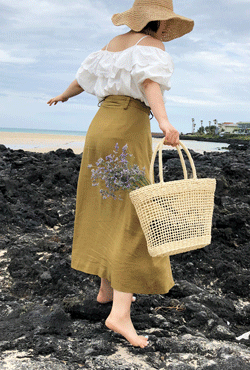 [SUMMER VELY] Woven See-Through Tote Bag