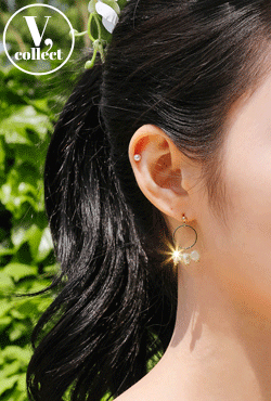 [V,Collect] Drop Hoop Crystal Earrings