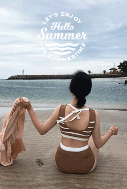 [SUMMER VELY] Striped Top Two-Piece Bikini