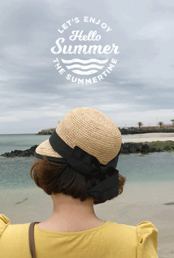 [SUMMER VELY] Curved Visor Ribbon Accent Raffia Hat