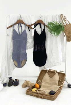 [SUMMER VELY] Knitted Halter Neck Monokini
