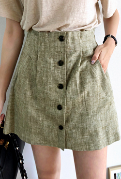 Herringbone Button-Front Skort