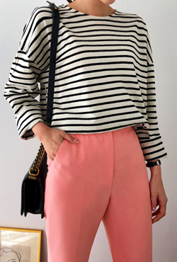 Side Slit Striped T-Shirt