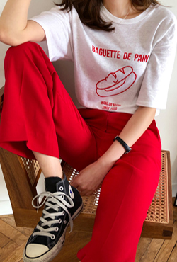 Contrast Slogan Detail Oversized T-Shirt