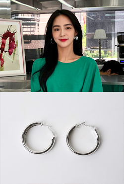 Chunky Sliver-Tone Hoop Earrings