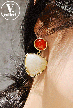 [V,Collect] Double Stone Drop Earrings