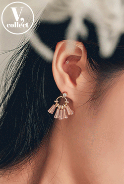 [V,Collect] Crystal Bead Push-Back Earrings