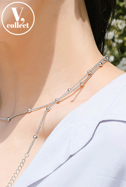 [V,Collect] Silver Bead Chain Necklace