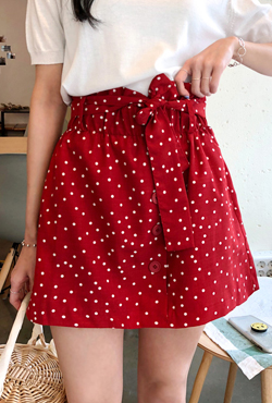 Dotted Tie-Waist Mini Skirt