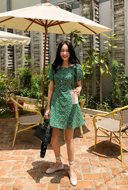 Green Floral Fit-and-Flare Dress