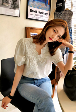 Lace Button-Up Blouse