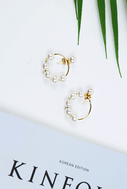 Beaded Hoop Stud Earrings