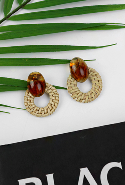 Rattan Hoop Patterned Stone Earrings