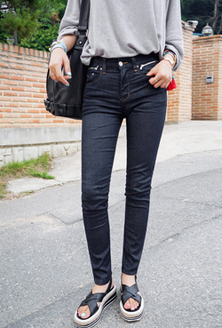 Zip Pocket Dark Skinny Jeans
