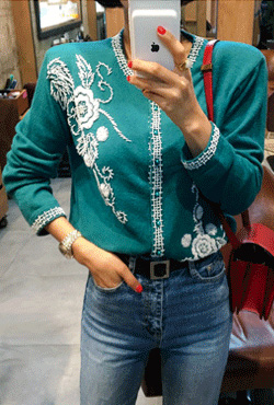 Embellished Round Neck Green Cardigan