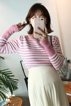 Striped Rib Trim Sweater
