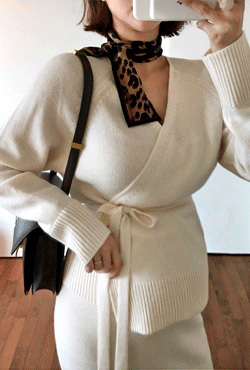 Rib Trim Wrap Cardigan