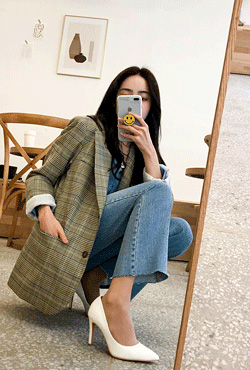 Notch Lapel Check Jacket