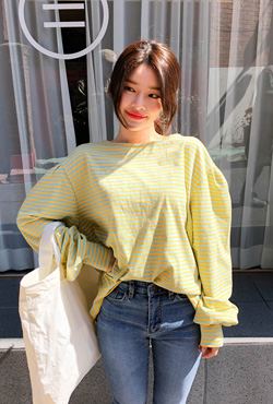 Striped Puff Sleeve T-Shirt
