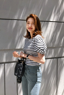Puff Sleeve Stripe T-Shirt