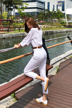 High-Rise Contrast Stitch Pants